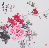 一级美术师王凌风四尺斗方牡丹《舞春风》