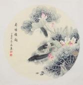 河南美协刘志高四尺斗方工笔鲤鱼图《荷塘雅趣》