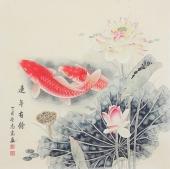 河南美协刘志高四尺斗方工笔双鱼图《连年有余》
