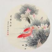 河南美协刘志高四尺斗方工笔双鱼图《荷塘鱼乐》
