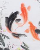 一级美术师花鸟名家董宗周四尺竖幅九鱼图《连年有余》