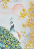 【已售】河南美协刘志高四尺竖幅工笔孔雀《花好月圆》