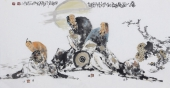 江苏省美协会员李傅宇三尺横幅人物画