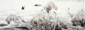 【询价】一级美术师李成林六尺横福冰雪画《雪中睡莲待芬芳》