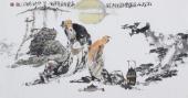 江苏省美协会员李傅宇三尺横幅人物画《松下品茶图》