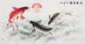 一级美术师李春江四尺国画鱼《鸿运当头》