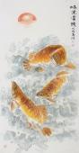 河南美协李春江四尺竖幅写意画《鸿运当头》