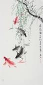 画鱼名家李春江四尺竖幅五鱼图《》