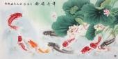 河南美协刘志高四尺工笔荷花鱼《年年有余》