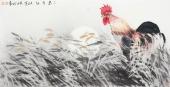 【已售】东北鸡王武仲时四尺横幅国画鸡《东方红》