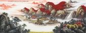 广西山水画家张哲礼写意六尺聚宝盆《宝地生金》