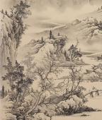 【已售】河北工笔山水画名家梁伟华四尺竖幅《草堂论道》