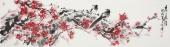 河北美协王学增 写意花鸟六尺对开《喜上眉梢》