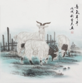 安徽美协云志国画斗方《喜气羊羊》