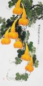广西美协黄艺四尺竖副写意国画葫芦《福禄连绵》
