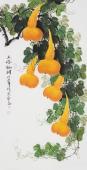 广西美协黄艺四尺竖副写意国画葫芦《五福临门》