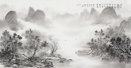 云浩 写意水墨山水《落花飘轻衣归》 广西美术家协会会员