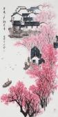 张春奇 四尺写意山水画《早春二月桃花香》 徐悲鸿纪念馆艺术中心理事