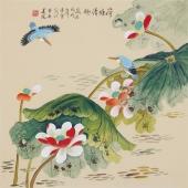 北京美协凌雪四尺斗方工笔画《荷塘清趣》
