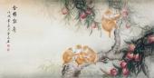 云志 四尺动物画《金猴献寿》 安徽美术家协会会员