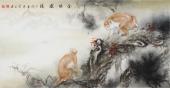 云志 四尺动物画《金猴献瑞》 安徽美术家协会会员