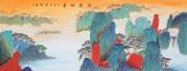 许景同 六尺重彩国画山水《云嶺松华》 广西美术家协会会员
