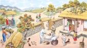 朝鲜一级艺术家哲明写意民俗画《重阳节》