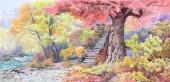朝鲜一级艺术家韩光写意山水画《大兴寺的秋天》