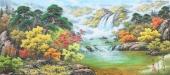 朝鲜一级艺术家李英写意山水画《山林的秋天》