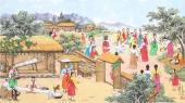朝鲜一级艺术家哲明写意民俗画《纺织游戏》