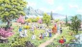 【已售】朝鲜一级艺术家金申姬写意民俗画《故乡的春天》