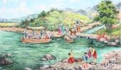 朝鲜一级艺术家崔申写意民俗画《春意盎然》