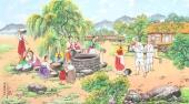 朝鲜一级艺术家哲明写意民俗画《在井边》