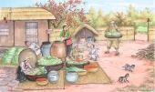 朝鲜一级艺术家蔡国四尺民俗画《做泡菜》