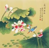 北京中央美院凌雪四尺斗方工笔画《荷塘清趣》