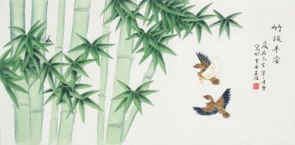 北京中央美院凌雪三尺横幅工笔画《竹报平安》
