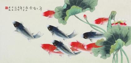 【已售】北京中央美院凌雪三尺横幅工笔画《年年有余》