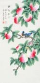 北京中央美院凌雪三尺横竖幅工笔画《福寿康宁》