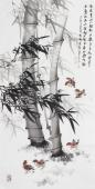 广西美协石云轩四尺竖幅写意国画鱼竹子