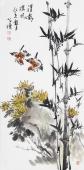 河北美协王学增三尺竖幅写意花鸟《清影摇风》