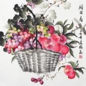赵君梅四尺斗方国画葡萄苹果《硕果图》