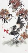 河北美协王学增三尺竖幅写意花鸟《秋风送吉祥》