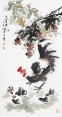 河北美协王学增三尺竖幅写意花鸟《大吉大利》