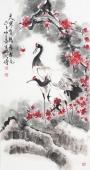 河北美协王学增三尺竖幅写意花鸟《天寒有鹤守梅花》