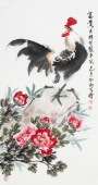 河北美协王学增三尺竖幅写意花鸟《富贵吉祥》